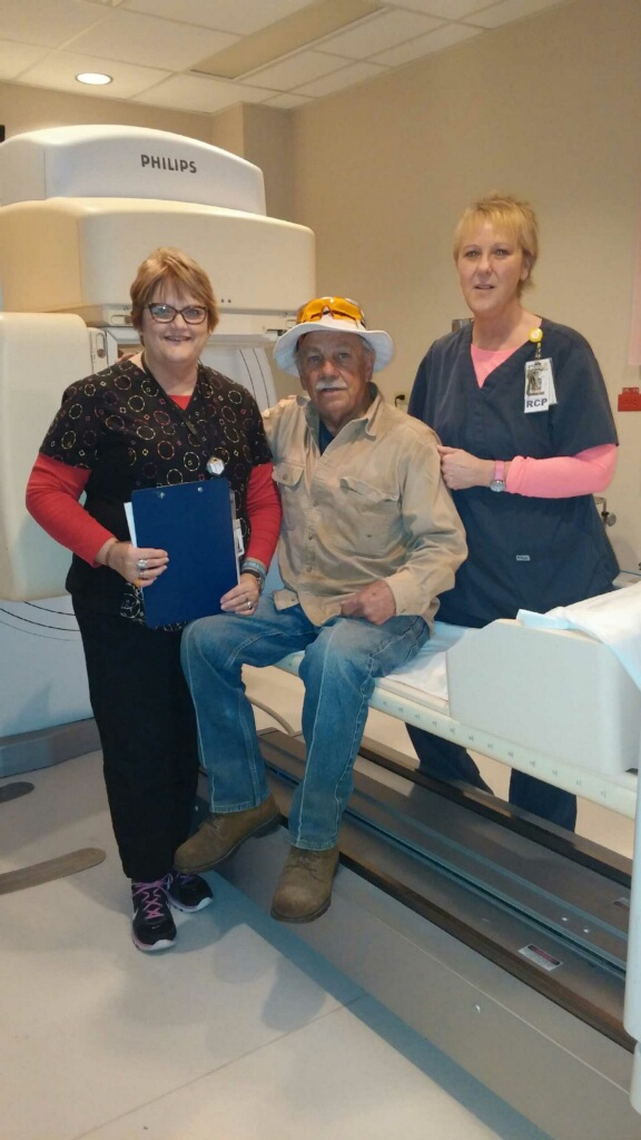 Shown in the Cardiac Stress Lab at Ascension Seton Highland Lakes Hospital left to right: Marsha Prather-CNMT, Patient, Ronnie Laborde, and Glenda Myers-RRT
