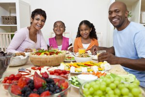 Family with Healthy Food