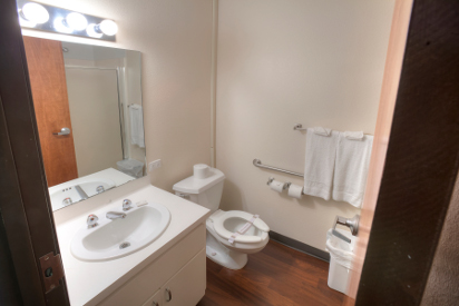 All rooms have a private bath, with ADA rooms having accessible facilities.