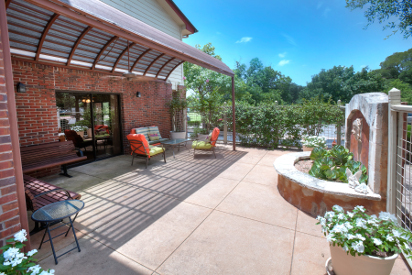 Tranquil patio area for guests to relax and enjoy a cup of coffee, read or meditate.
