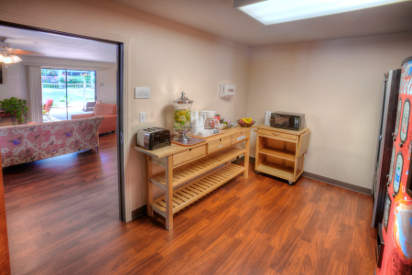 The kitchen area provides complimentary coffee, tea, hot cocoa and vending machines with soda and juice. Microwaves and toaster are also available.