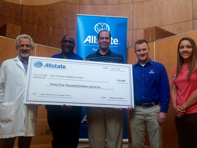 Pictured in the photo (left to right) are Dr. Moise Levy, physician-in-chief, Dell Children's Medical Center of Central Texas; Allstate agents Michael Walker, Nelson Robinson and Chris Lewis; and Lindsay Pollock, Dell Children's trauma services injury prevention coordinator.