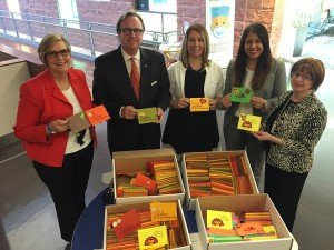 Left to right, the Renaissance Hotel's Marilyn Eckhardt, Rob Gillette, Andrea Barnes and Lexi Martinez brought the cards to Gail Gorman of Dell Children's Volunteer Services.