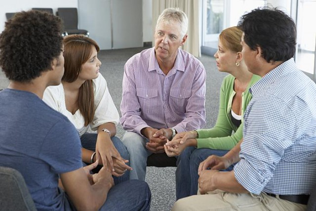adults in group therapy