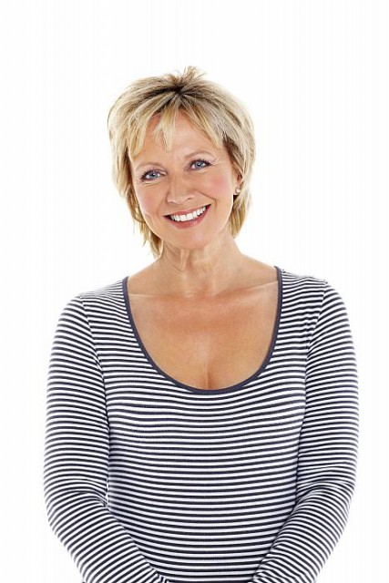 smiling mature woman in striped shirt