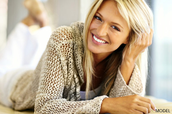smiling woman with blonde hair