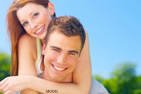 young couple happy outside