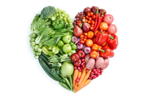 healthy foods in heart shape